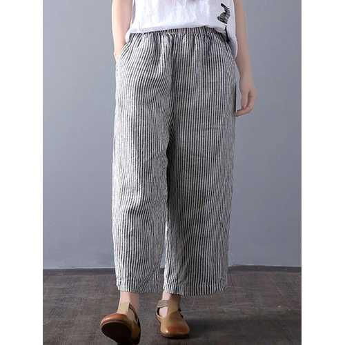 Women Vintage High Waisted Striped Wide Leg Pants-Women Bottoms-SJI Shop