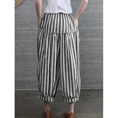 Women Vintage Elastic High Waist Striped Pants-Women Bottoms-SJI Shop
