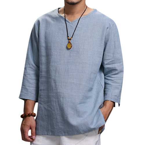 Ethnic Casual Men's Long-sleeved V-neck Solid Color Large Size Loose T-Shirts-Men's Clothing-SJI Shop