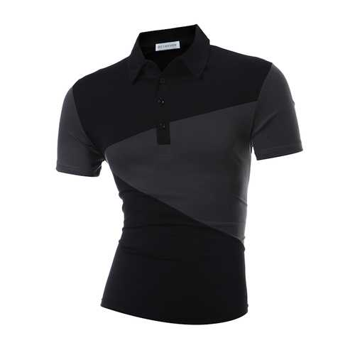 Men's Fashion Color Block Short Sleeve Golf Shirt-Men's Clothing-SJI Shop