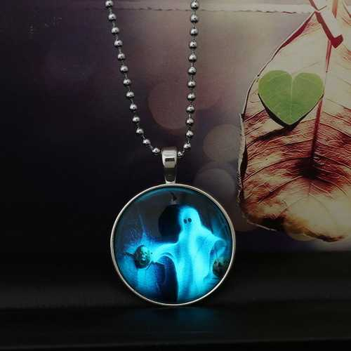 Halloween Jewelry Glowing Black Animal Magic Pendant Stainless Steel Chain Necklace-Party Supplies-SJI Shop