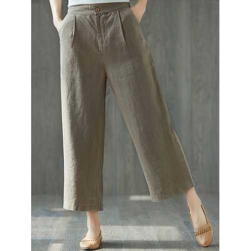 Women Casual High Waist Wide Leg Pants-Women Bottoms-SJI Shop