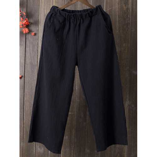 Women Elastic Waist Solid Linen Cotton Pants-Women Bottoms-SJI Shop