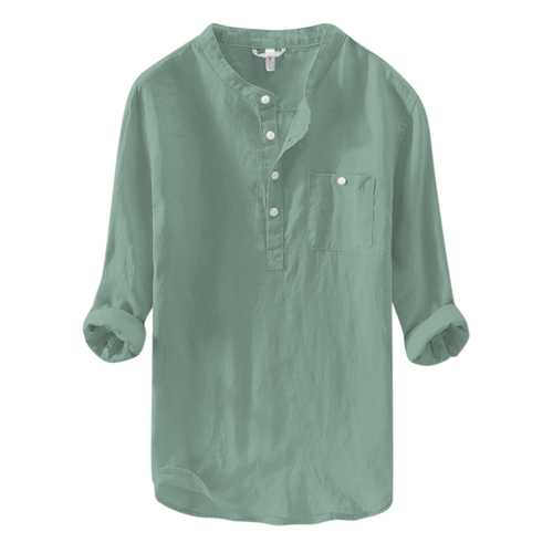 Men's Linen M-4XL Loose Button Pocket Casual T-shirts-Men's Clothing-SJI Shop