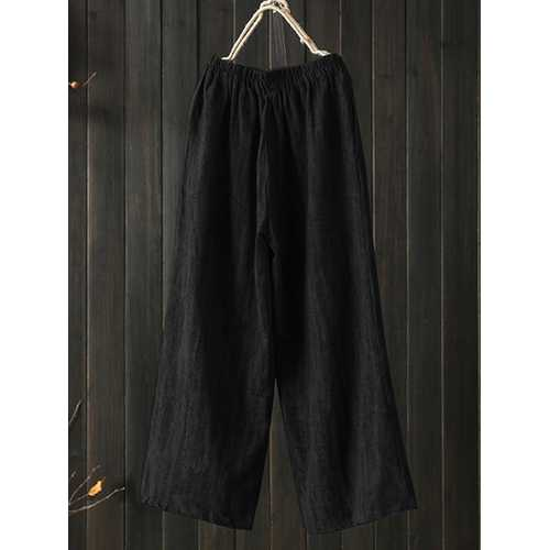 High Elastic Waist Pocket Cotton Pants-Women Bottoms-SJI Shop