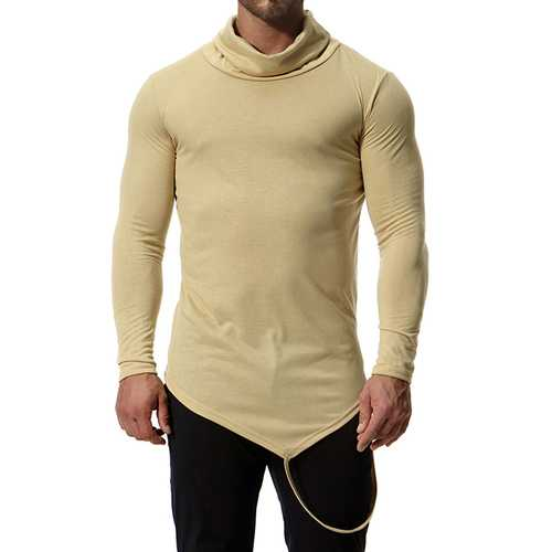 Men's Cotton Blend High Collar Casual T-shirts-Men's Clothing-SJI Shop