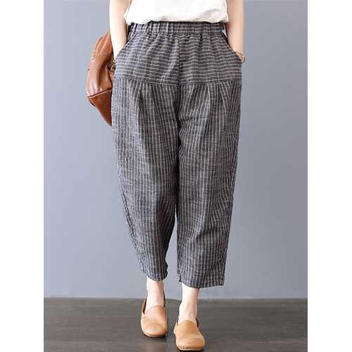 Women Stripe Elastic Waist Pockets Harem Pants-Women Bottoms-SJI Shop