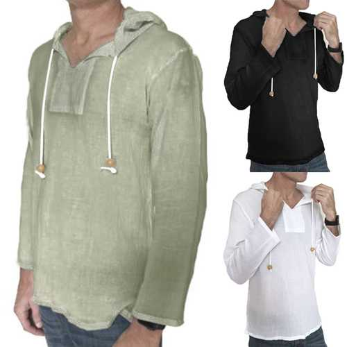 INCERUN Men's Vintage Solid Loose Fit T-Shirts-Men's Clothing-SJI Shop