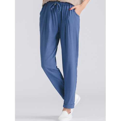 Women Casual Elastic Drawstring Waist Pants-Women Bottoms-SJI Shop