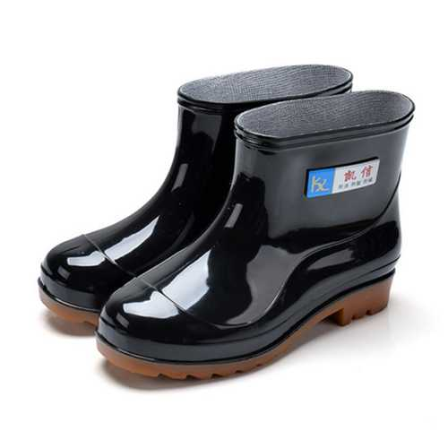 Men Rain Boots Casual Non-Slip Breathable Waterproof Outdoor Slip on Ankle Boots-Fishing-SJI Shop