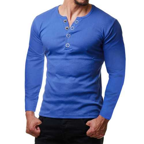 Men's Cotton Button Decoration V Neck Fit T-shirts-Men's Clothing-SJI Shop