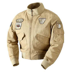 Mens Embroidery Outdoor Military Epaulet Stand Color Jacket-Men Outwear-SJI Shop