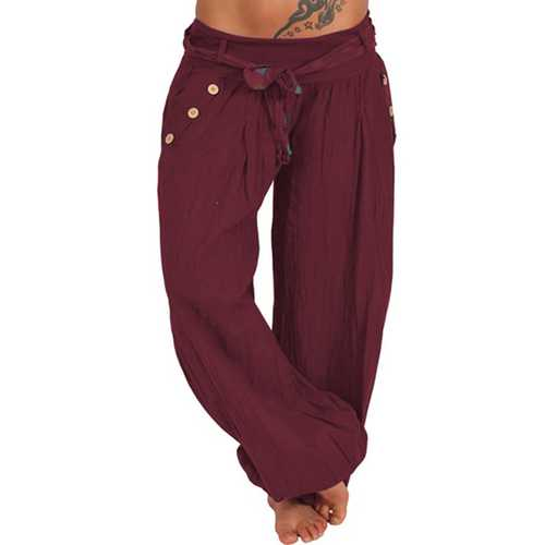 Women Pure Color Buttons Cotton Yoga Pants-Women Bottoms-SJI Shop