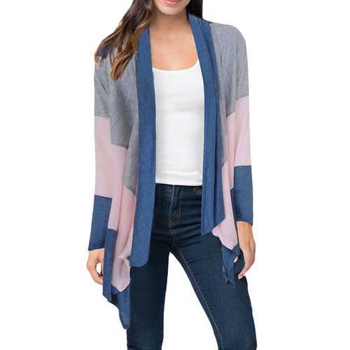 Casual Women Patchwork Long Sleeve Irregular Hem Cardigans-Women Outwear-SJI Shop