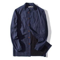 Linen Cotton Casual Spring Fall Coats for Men-Men Outwear-SJI Shop