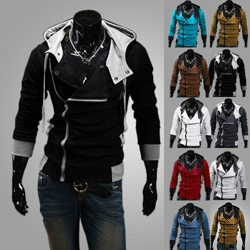 Men Casual Long Sleeve Slim Fit Size Zipper Hoodies Sweatshirt Jacket Outwear-Men's Clothing-SJI Shop