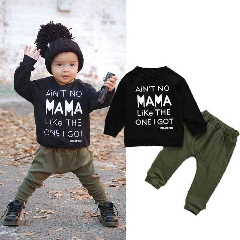 Fashion Toddler Baby Boy Long Sleeve T-shirt + Skinny Pants Outfit Clothing Set-Baby's Sets-SJI Shop