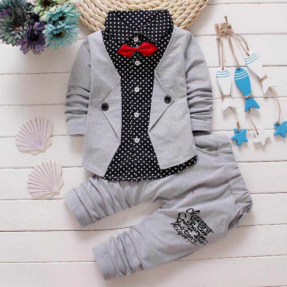 Kids Baby Boys Spots Turn-down Collar Gentry Formal Party Bow Suit Clothes Set-Baby's Sets-SJI Shop