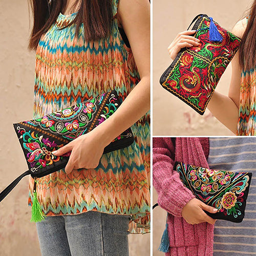 Women Handbag Purse Retro Embroidered Phone Coin Storage Zipper Bag with Tassel-Clutch Bags-SJI Shop