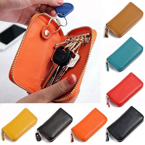 Men's Women's Fashion Faux Leather Zipper Purse Car Keys Wallet Card Holder-Clutch Bags-SJI Shop