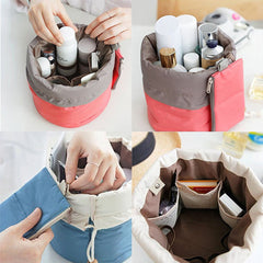 Makeup Bag Barrel Shaped Cosmetic Storage Case Travel Toiletry Organizer Pouch-Clutch Bags-SJI Shop
