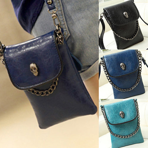 Women Skull Pattern Messenger Bag Mini Mobile Phone Bag Purse Wallet Handbag-Clutch Bags-SJI Shop