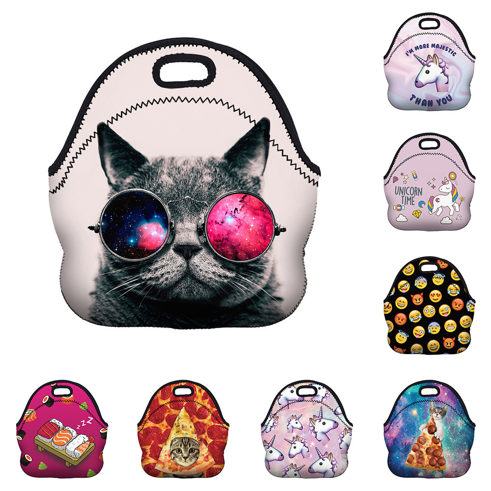 Kids Lunch Bag Thermal Insulated Cooler Cartoon Unicorn Print Zipper Tote Bag-Clutch Bags-SJI Shop