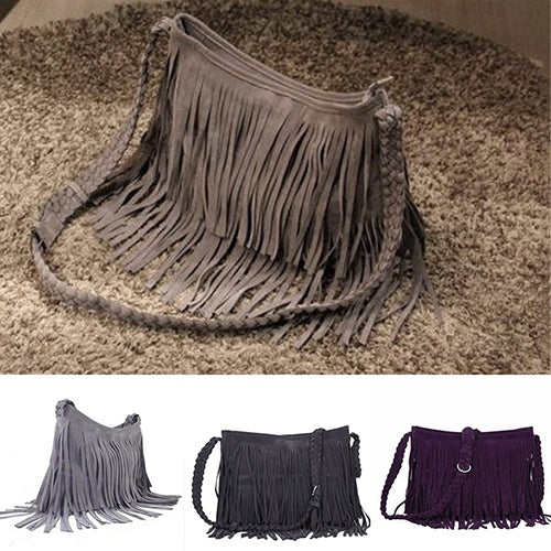 Women's Fashion Fringe Tassel Shoulder Messenger Cross Body Satchel Bag Handbag-Handbags-SJI Shop