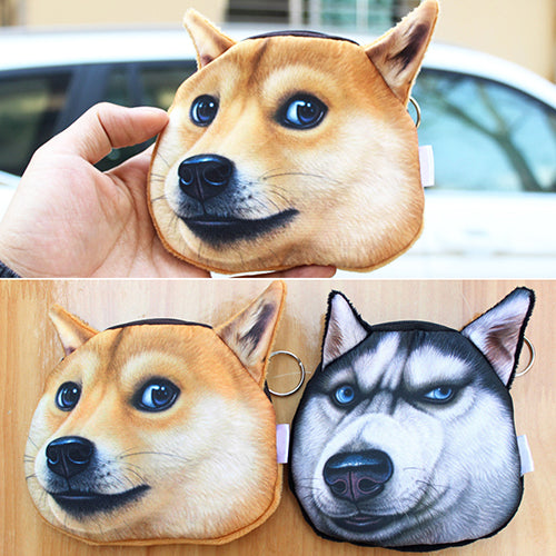 Funny Dog Face Coin Purse Shiba Inu Husky Head Zipper Wallet Keys Pouch Gift-Handbags-SJI Shop