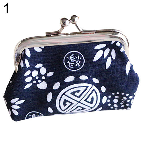 Lady Ethnic Flower Wax Print Wallet Card Holder Coin Purse Clutch Handbag Bag-Handbags-SJI Shop