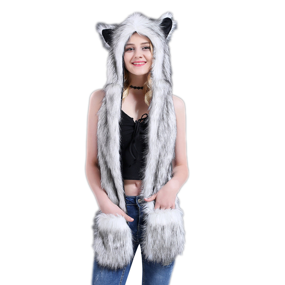 Women Winter Cartoon Wolf Hood Hat with Scarves Mittens Ears Paws Warm Outwear-Hats-SJI Shop