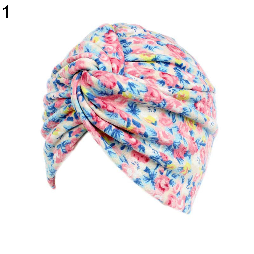 Fashion Women Floral Print Chemo Beanie Cap Turban Stretch Head Wrap Cancer Hat-Hats-SJI Shop