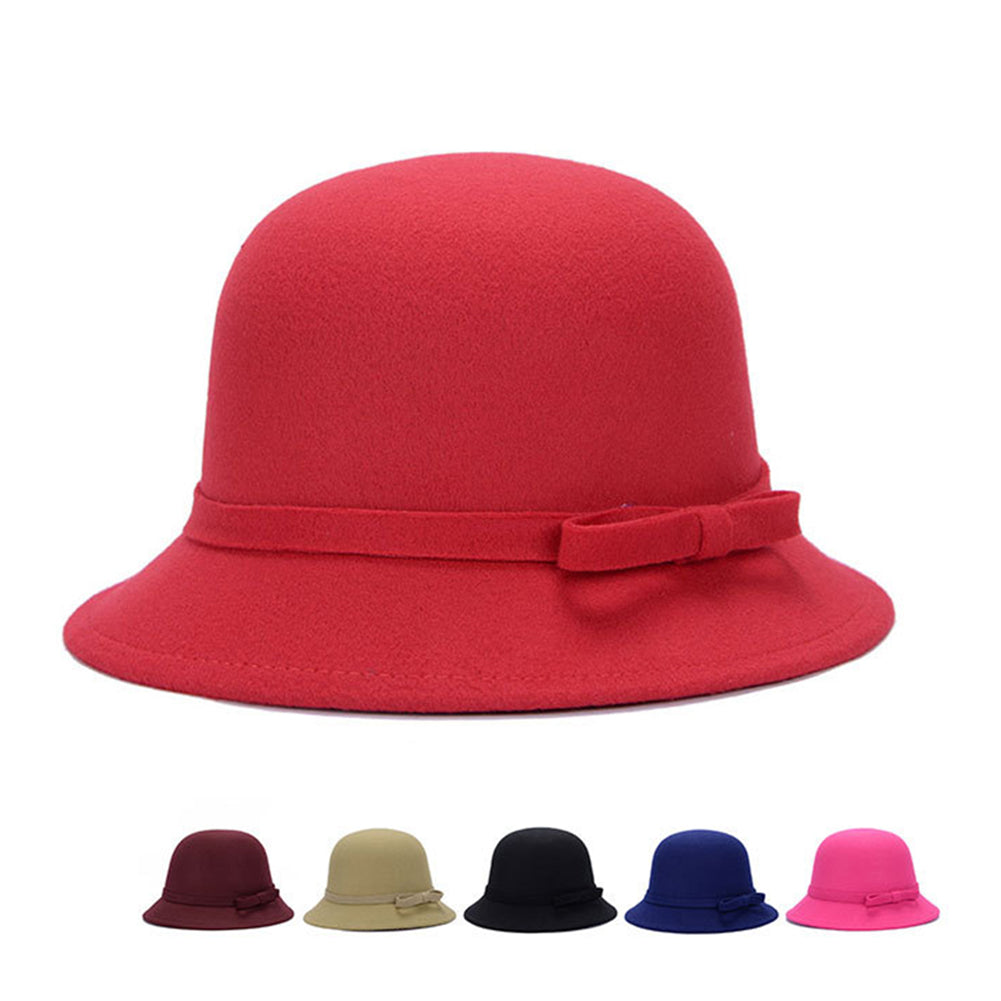 Fashion Elegant Solid Color Bowknot Women Bowler Hat Warm Party Prom Outdoor Cap-Hats-SJI Shop