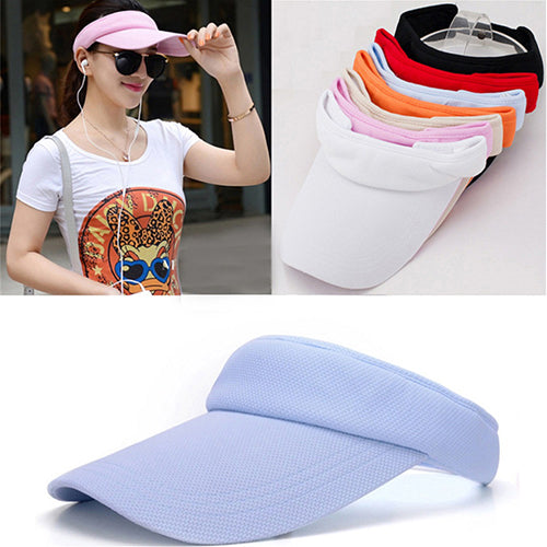 Women's Adjustable Sunhat Plain Sports Mesh Visor Cap Tennis Golf Beach Hat-Hats-SJI Shop