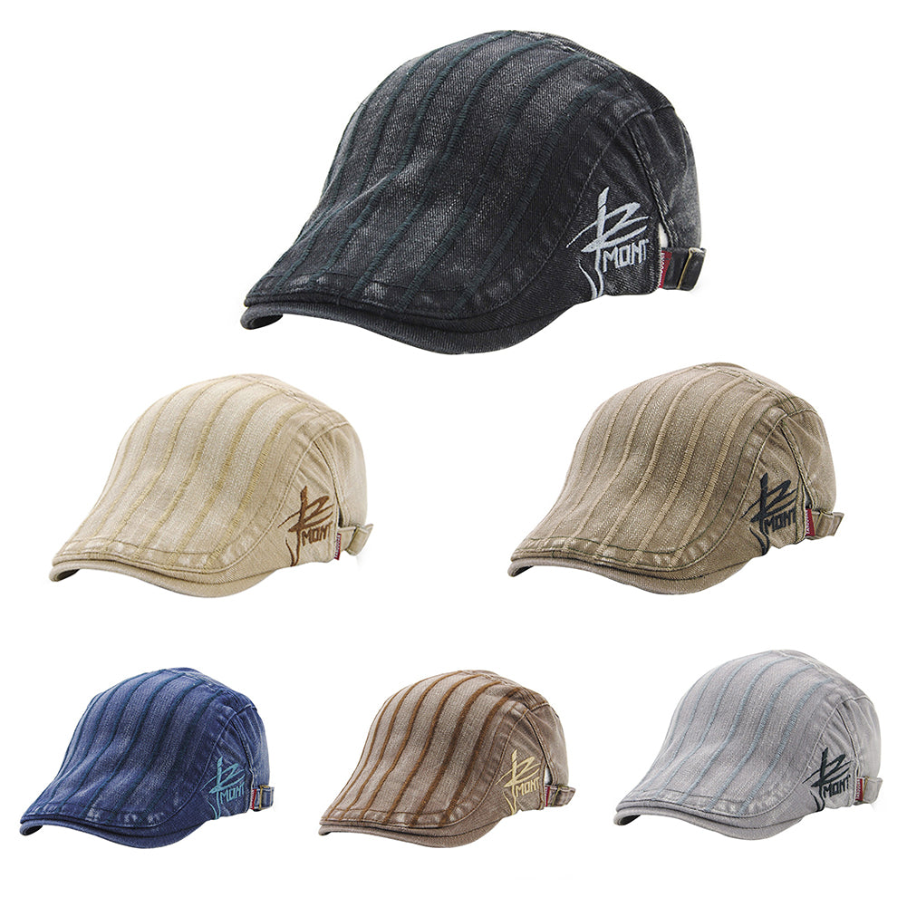 Men Striped Casual Newsboy Ivy Cap Outdoor Vintage Gentleman Cabbie Beret Hat-Hats-SJI Shop