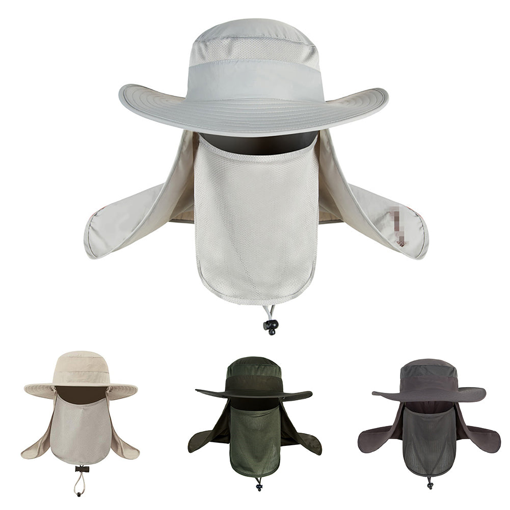 Outdoor Sun Protection Neck Face Cover Flap Cap Wide Brim Hiking Fishing Hat-Hats-SJI Shop