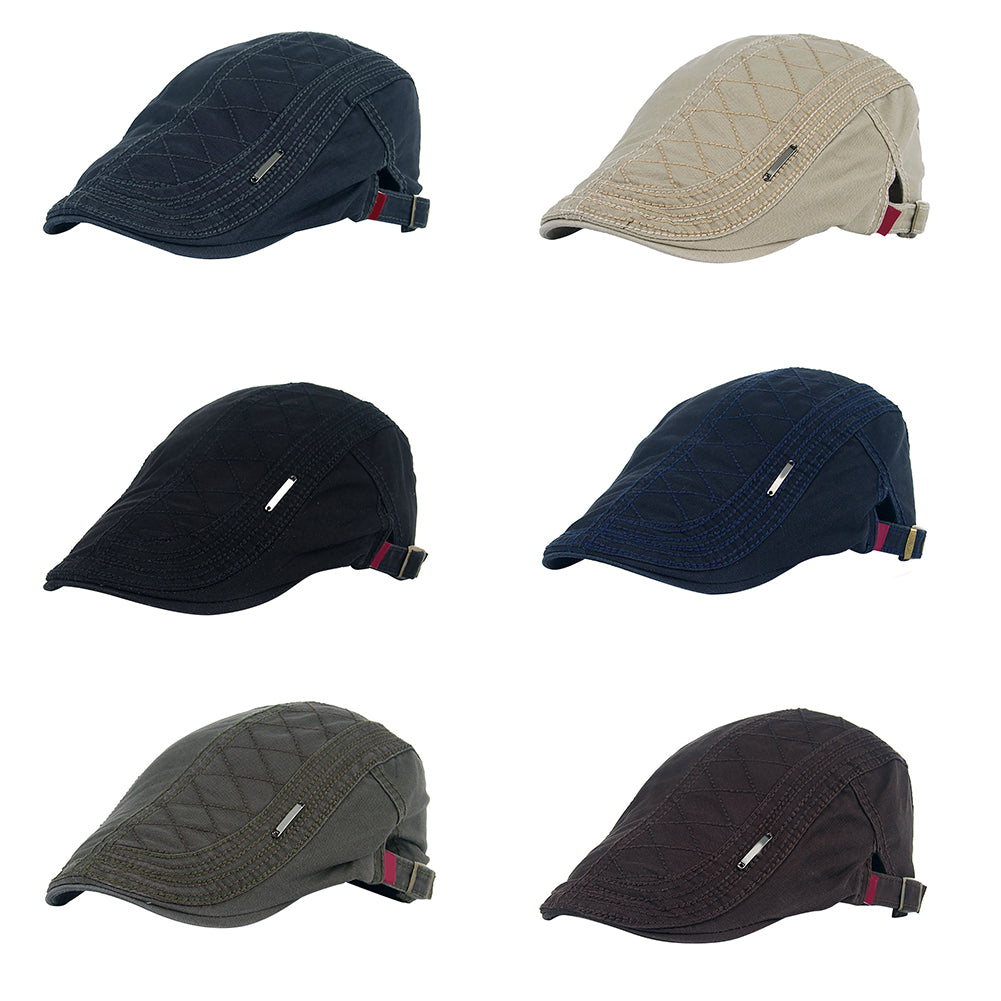 Grid Pattern Retro Autumn Winter Cotton Men Flat Peaked Cap Newsboy Hunting Hat-Hats-SJI Shop
