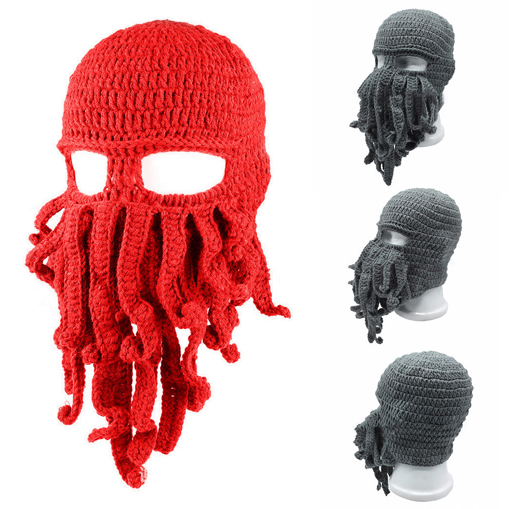 Unisex Winter Warm Octopus Tentacle Full Face Mask Knitted Hat Ski Cap Balaclava-Hats-SJI Shop