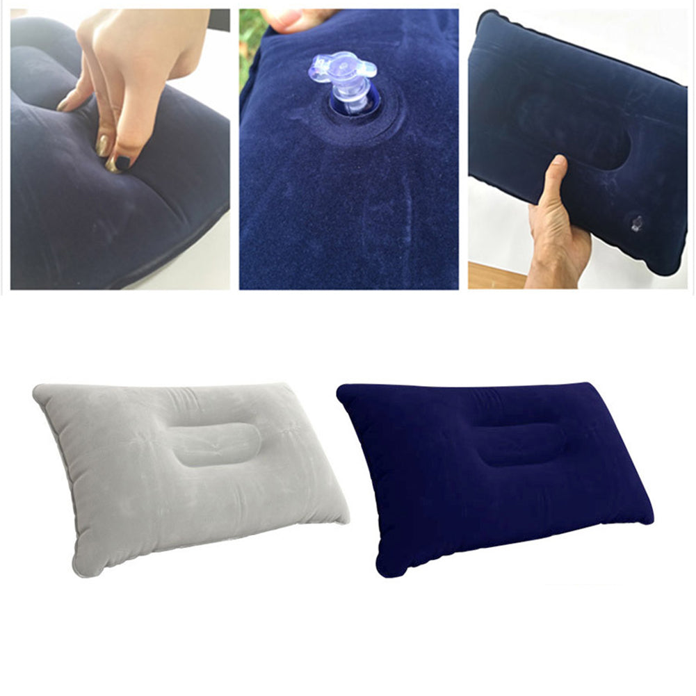 Portable Outdoor Non-Leakage Flocking Inflation Pillow Travel Camping Cushion-Camping & Hiking-SJI Shop