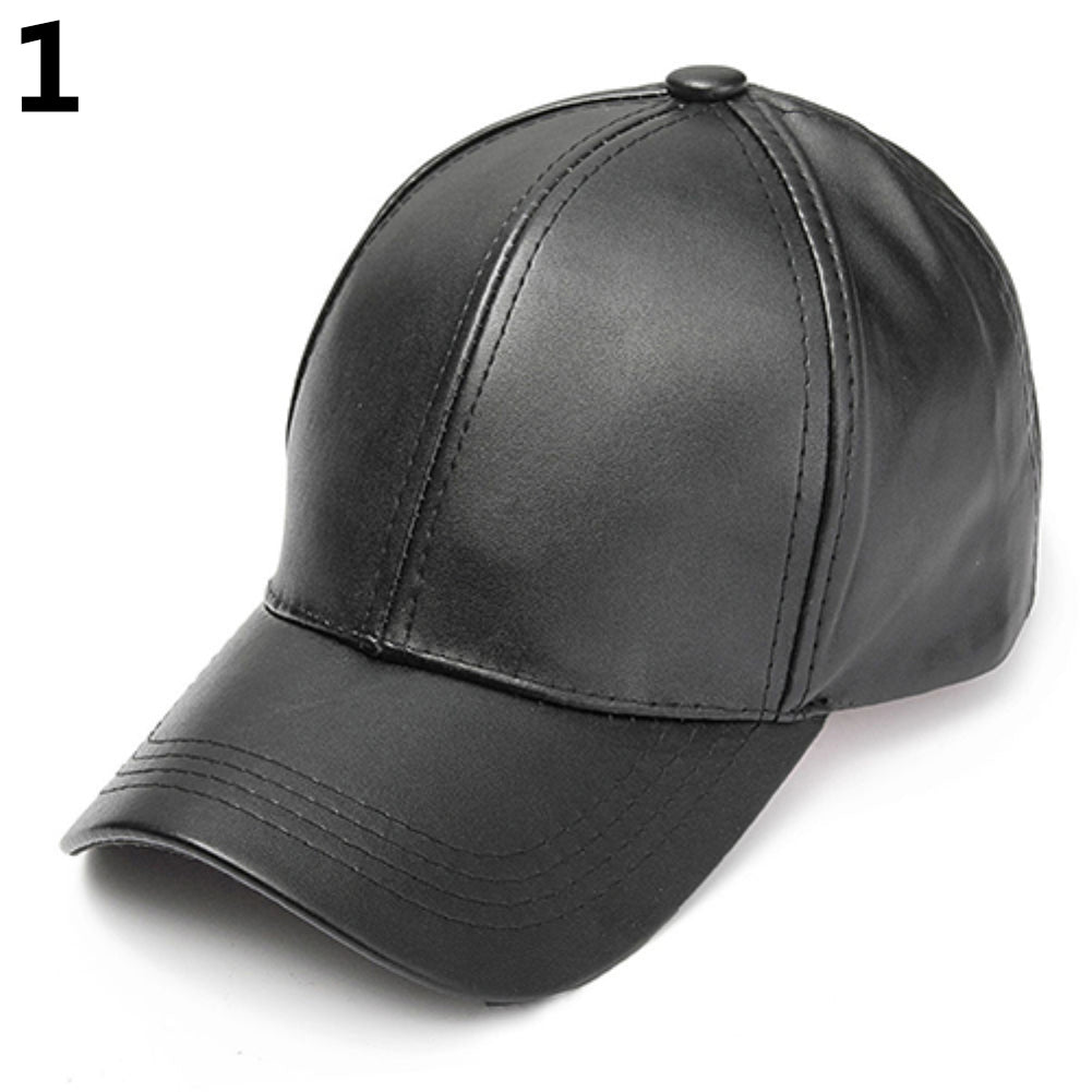 Men's Women's Plain Macaron Color Faux Leather Sports Baseball Cap Snapback Hat-Hats-SJI Shop