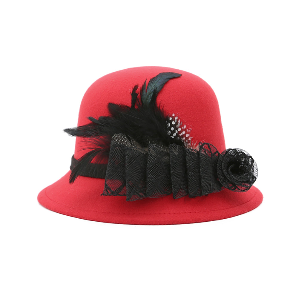European Style Women Feather Mesh Flower Bowler Hat Party Prom Travel Cap Gift-Hats-SJI Shop