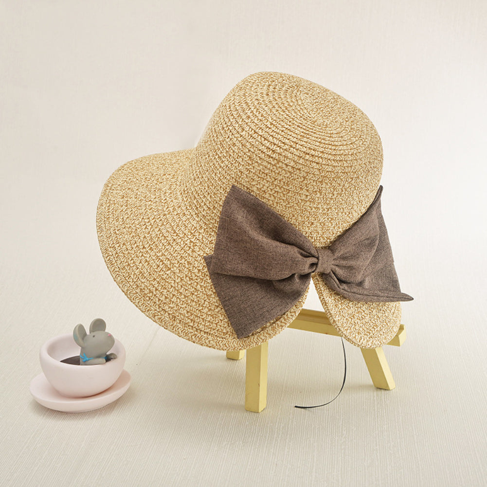 Bowknot Fashion Wide Brim Cocktail Party Travel Ladies Visor Hat Cap Gift-Hats-SJI Shop
