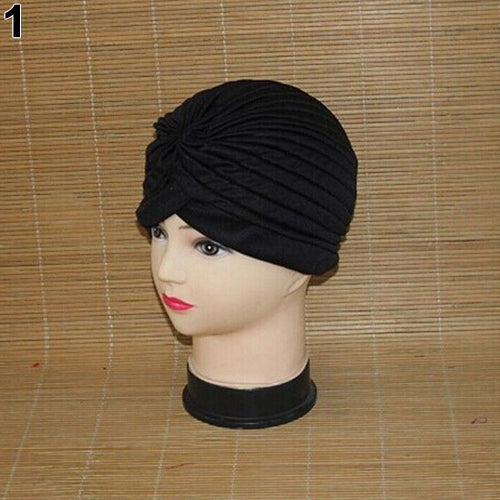 Women Stretchy Hat Turban Head Wrap Band Chemo Bandana Hijab Pleated Indian Cap-Hats-SJI Shop
