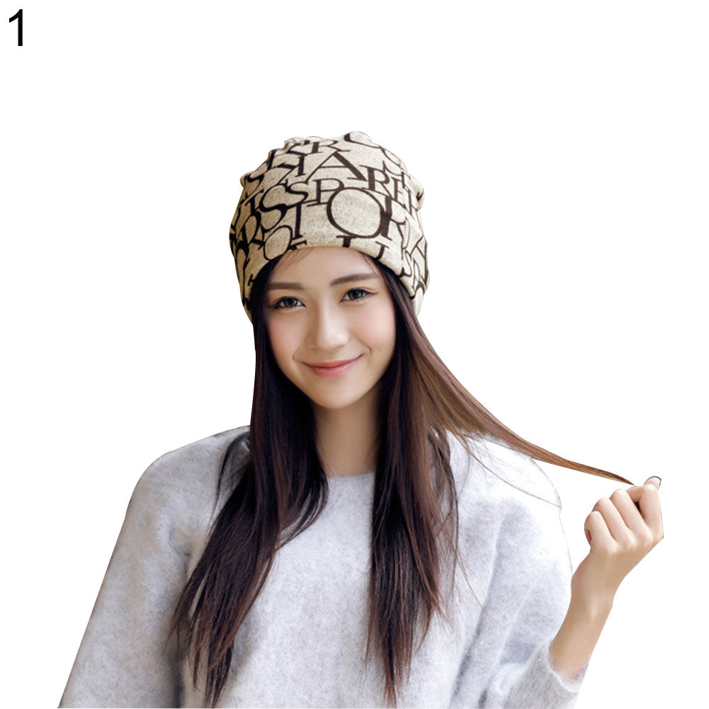 Letter Flag Print Multipurpose Baggy Beanie Hat Chemo Cap Women Head Scarf Cover-Hats-SJI Shop