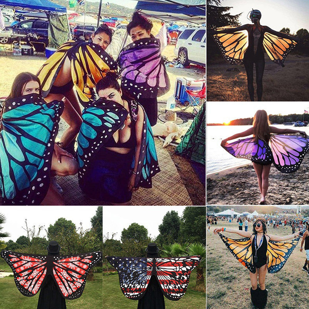 Colorful Soft Fabric Butterfly Wings Tippet Stole Scarf Ladies Fairy Costume-Scarfs & Scarves-SJI Shop
