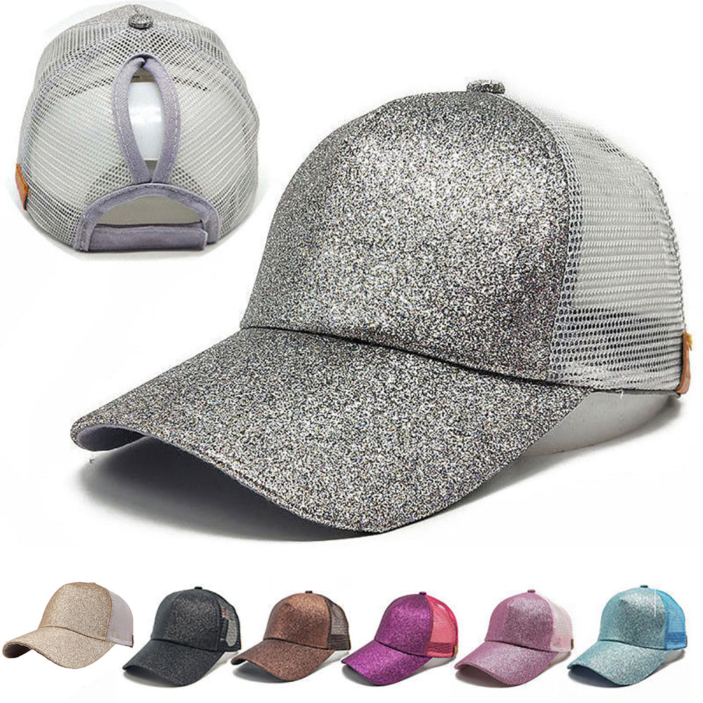 Glitter Fashion Ponytail Baseball Cap Women Mesh Sun Hat Hip Hop Sports Snapback-Hats-SJI Shop