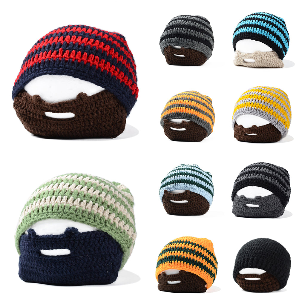 Men Striped Knit Crochet Beanie Hat Winter Warm Cap with Moustache Face Mask-Hats-SJI Shop