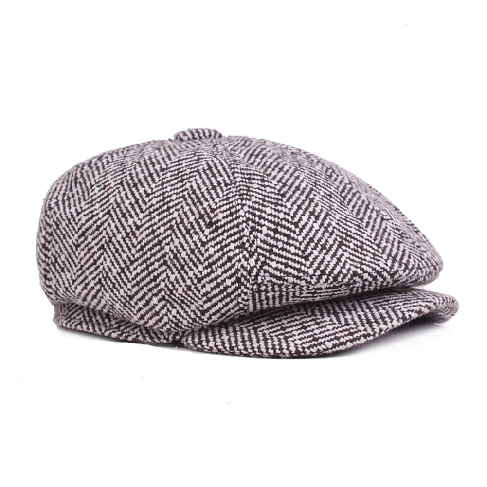 Fashion Classic Newsboy Beret Hat Men's Knitted Outdoor Casual Octagonal Cap-Hats-SJI Shop