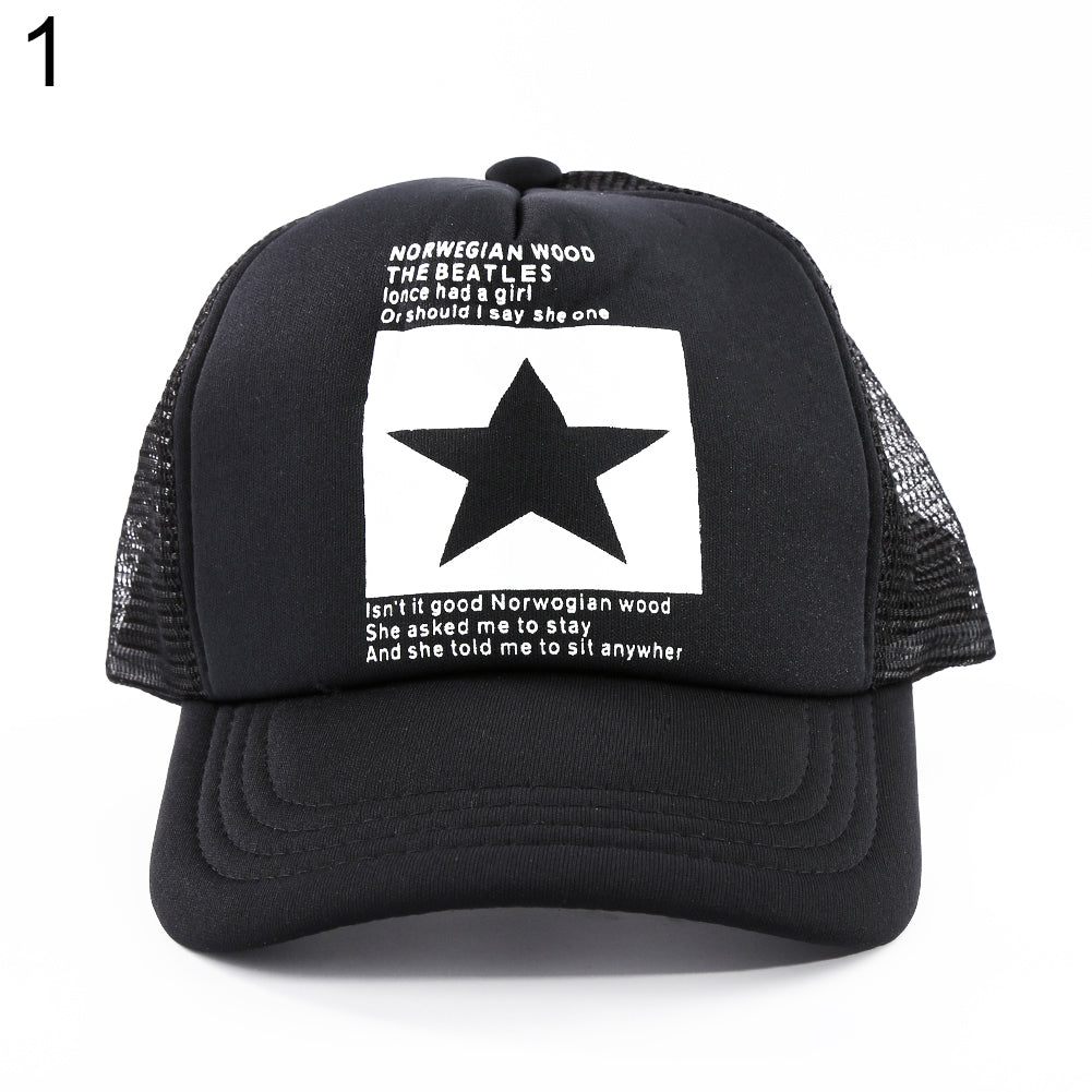 Men Women Adjustable Baseball Cap Star Pattern Breathable Sports Mesh Hat-Hats-SJI Shop