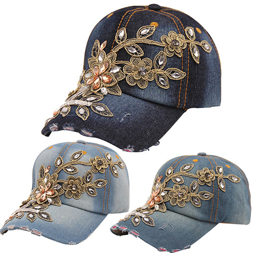 Women's Embossing Flower Denim Baseball Cap Summer Rhinestone Snapback Jeans Hat-Hats-SJI Shop